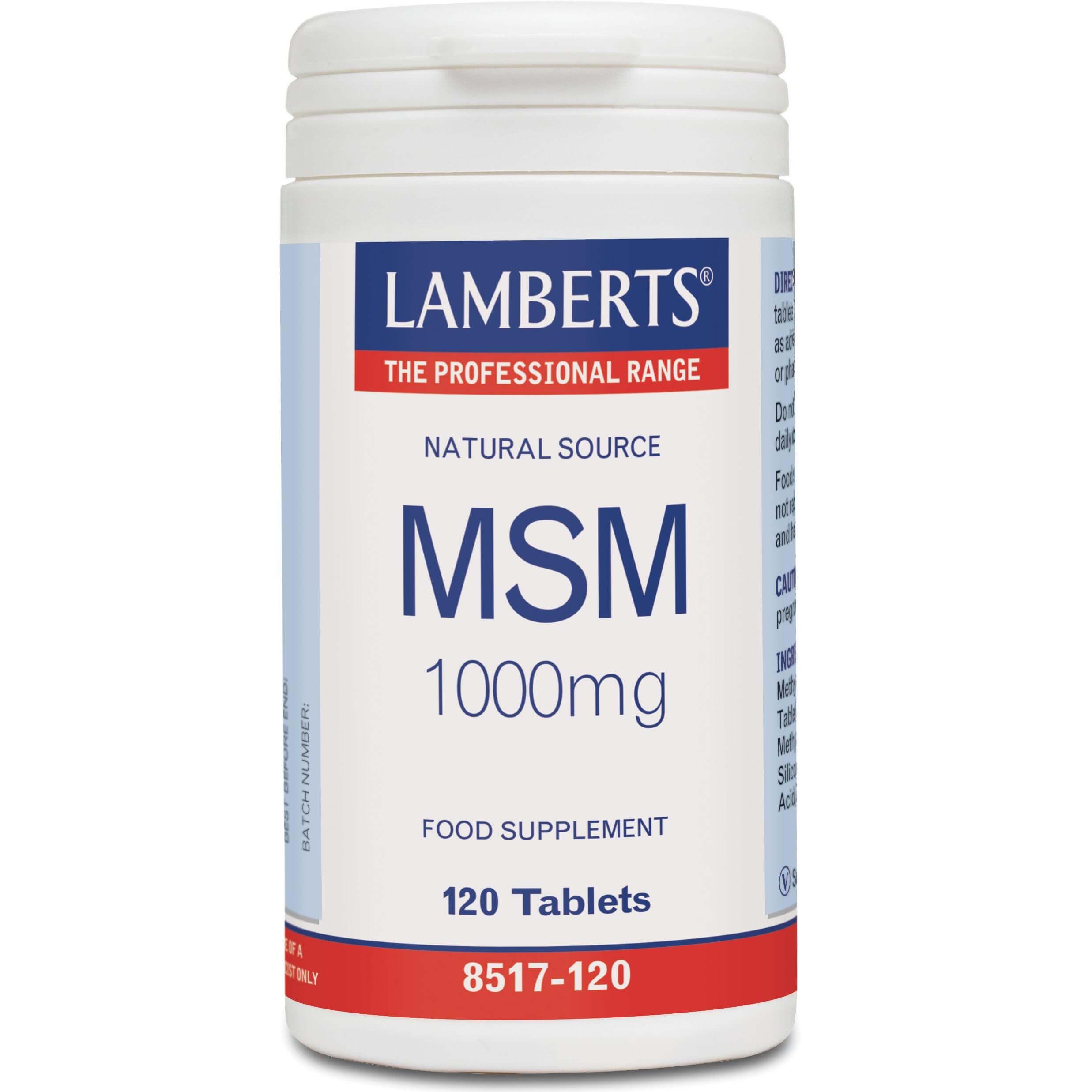 Lamberts MSM Συμπλήρωμα Διατροφής, Φυσική Πηγή MSM γιατηΔιατήρηση της Φυσιολογικής Λειτουργίας των Αρθρώσεων 1000mg 120Tabs