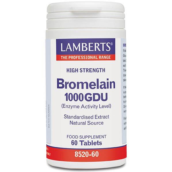 Lamberts BromelainΣυμπλήρωμα Διατροφής για την Ενίσχυση του Πεπτικού Συστήματος, με Παράλληλη Αντιφλεγμονώδη Δράση 400mg 60Tabs