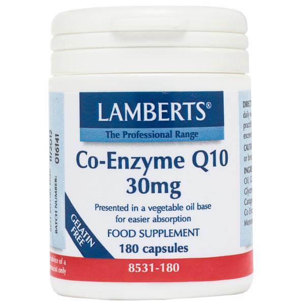 LambertsCo-Enzyme Q10 Συμπλήρωμα Διατροφής γιατην Παραγωγή Ενέργειας από τα Θρεπτικά Συστατικά της Τροφής 30mg – 30 tabs
