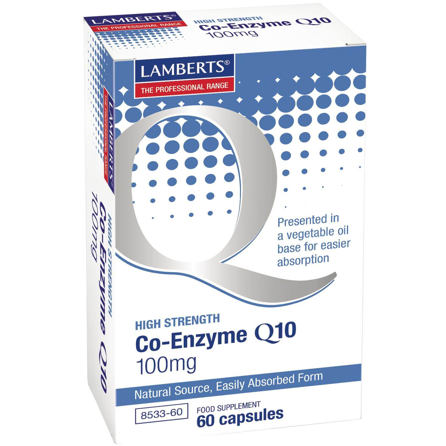 LambertsCo-Enzyme Q10 Συμπλήρωμα Διατροφής γιατην Παραγωγή Ενέργειας από τα Θρεπτικά Συστατικά της Τροφής 100mg – 60 tabs