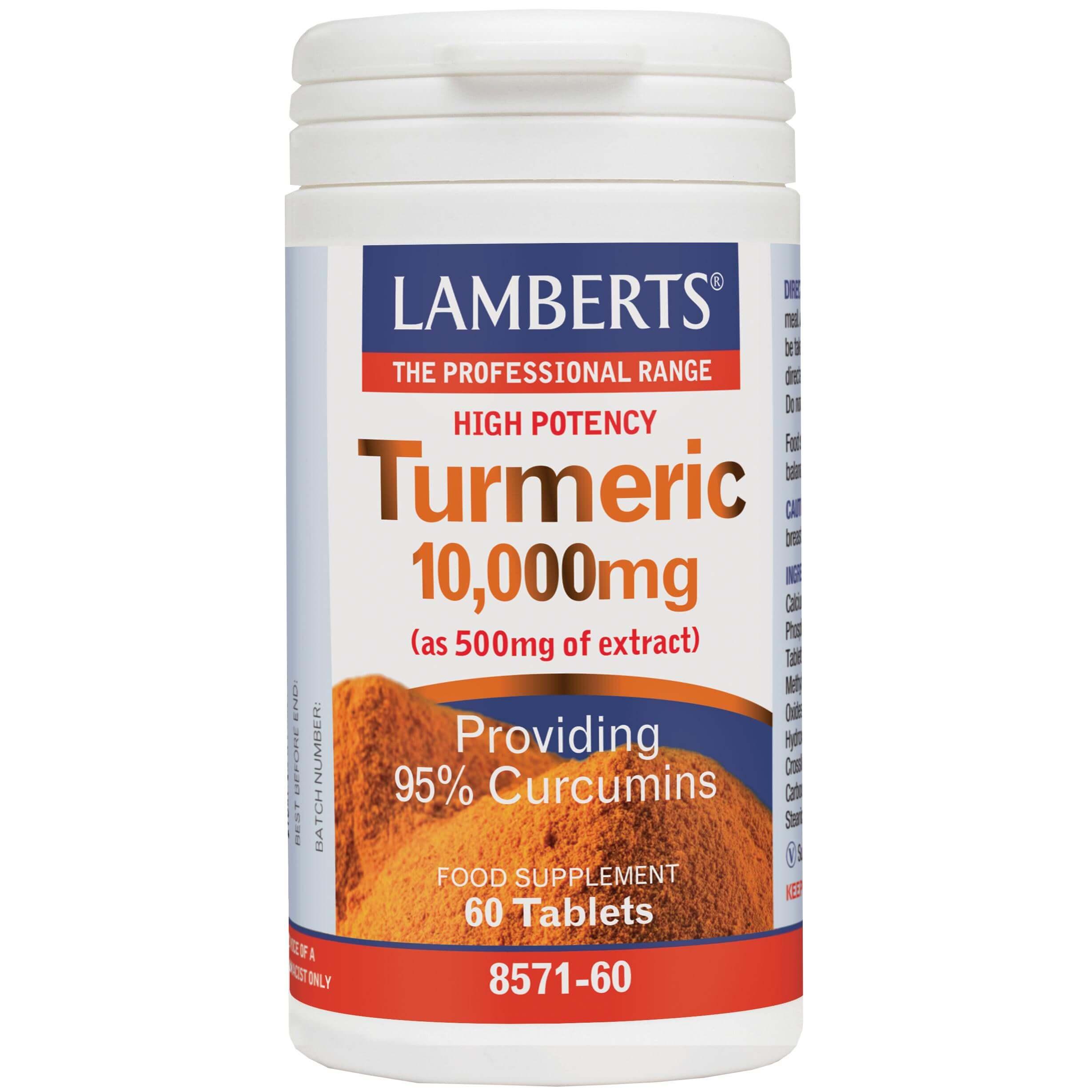 Lamberts Turmeric Συμπλήρωμα Διατροφής με Αντιφλεγμονώδη Ιδιότητες 10,000mg 60tabs