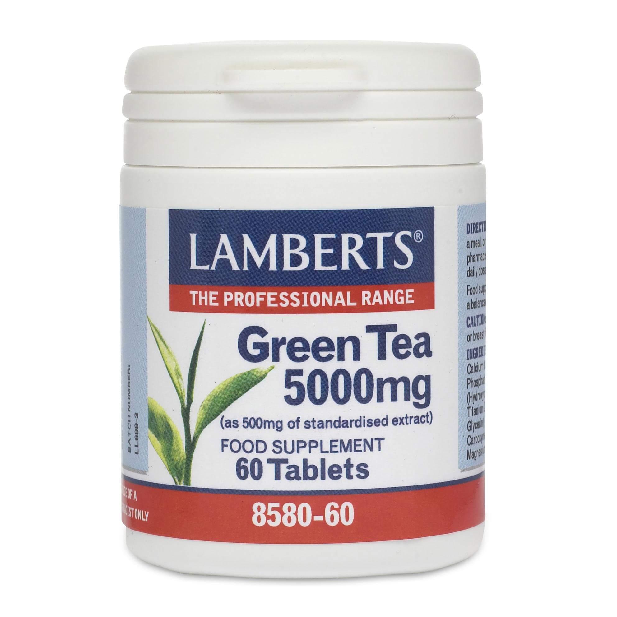 Lamberts Green Tea Συμπλήρωμα Διατροφής για ΑύξησητουΜεταβολικούΡυθμού τουΣώματός5000mg 60tabs
