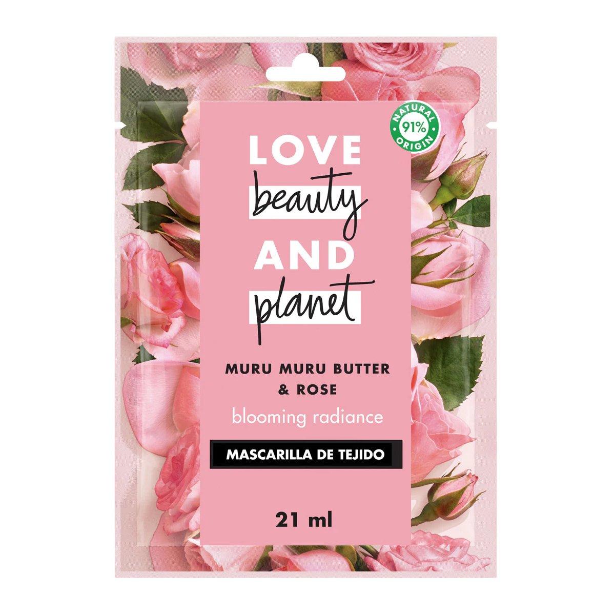 Love Beauty & Planet Muru Muru Butter & Rose Blooming Radiance Sheet Face Mask 1x 21ml