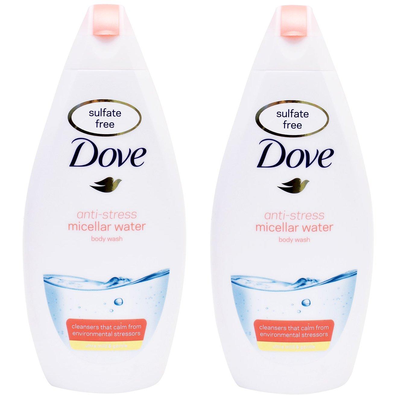 Dove Πακέτο Προσφοράς Anti-Stress Micellar Water Body Wash Ήπιο, Απαλό Αφρόλουτρο με Anti-Strees Δράση 2x750ml 1+1 Δώρο