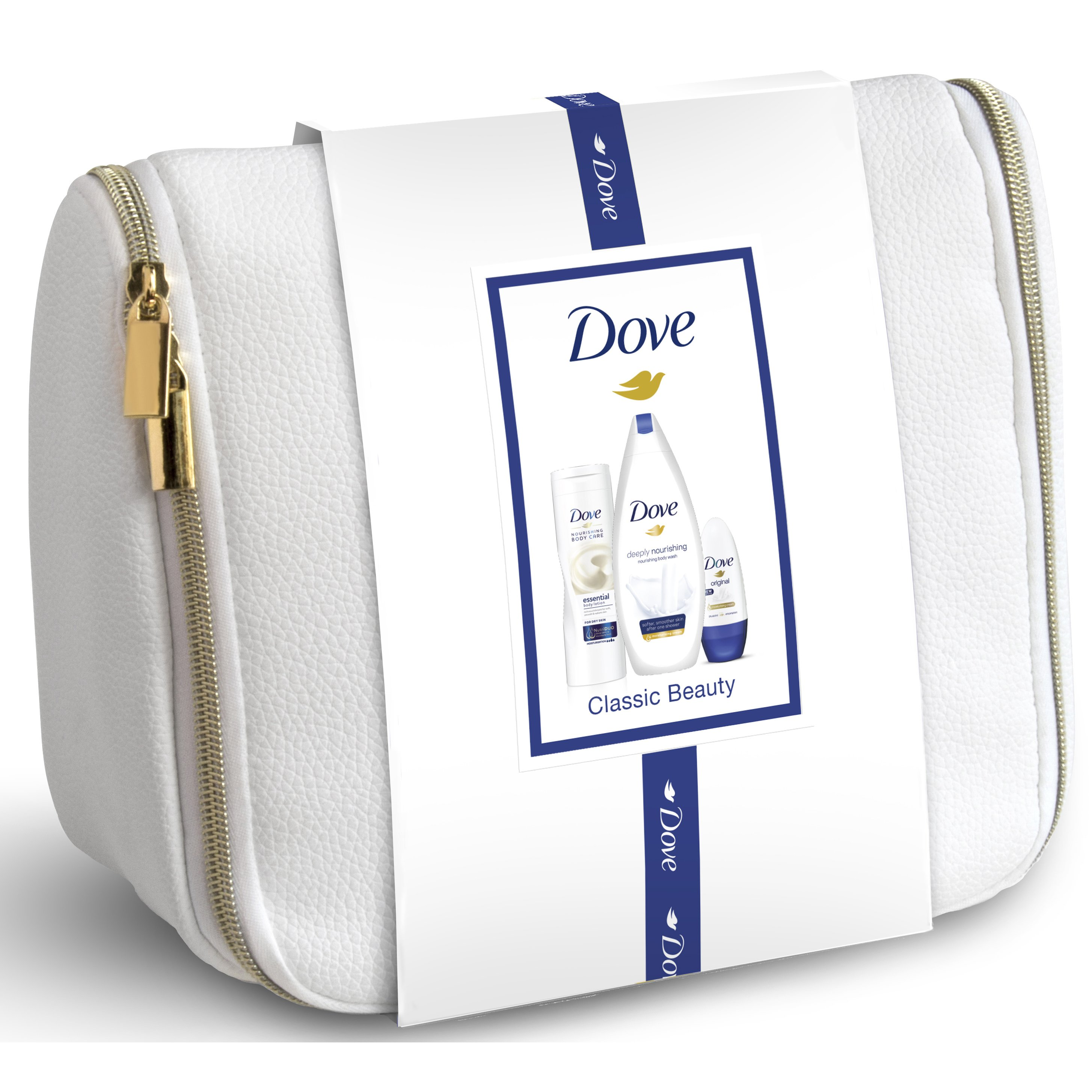 Dove Classic Beauty Deeply Nourishing Body Wash 250ml, Essential Body Milk 250ml, Original Roll On 50ml & Πρακτικό Νεσεσέρ