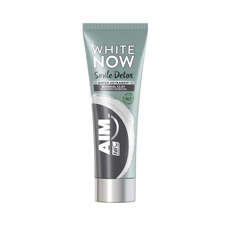 Aim White Now Smile Detox Charcoal Οδοντόκρεμα Προσφέρει Άμεσα Λευκότερο Χαμόγελο 75ml