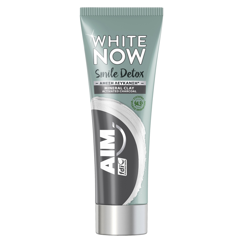 Aim White Now Smile Detox Charcoal Λευκαντική Οδοντόκρεμα για Άμεσα Λευκότερο Χαμόγελο 75ml