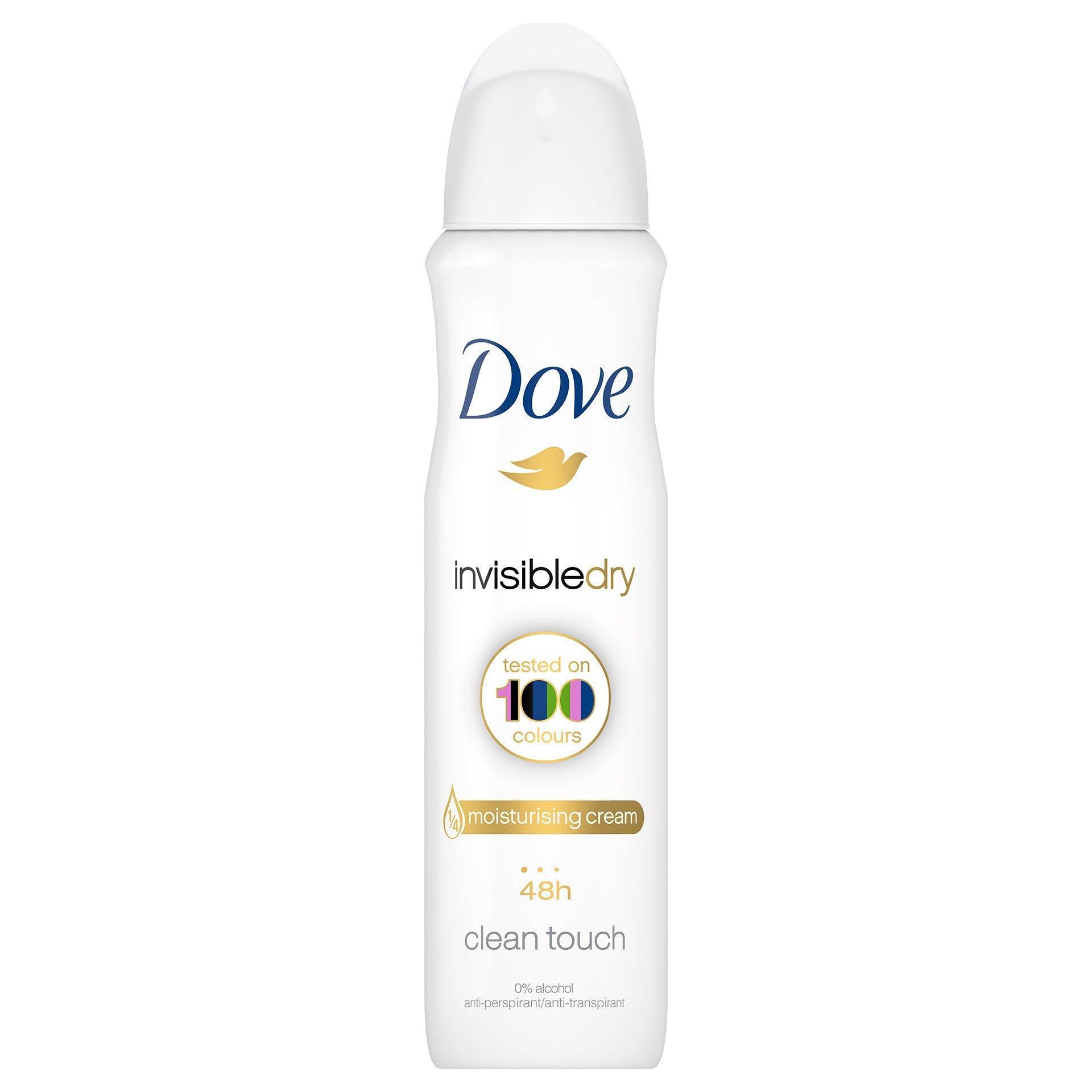 Dove Deo Spray Invisible Dry 48h Clean Touch Αποσμητικό 48ωρης Αντιιδρωτικής Προστασίας Χωρίς Λευκά Σημάδια στα Ρούχα 150ml