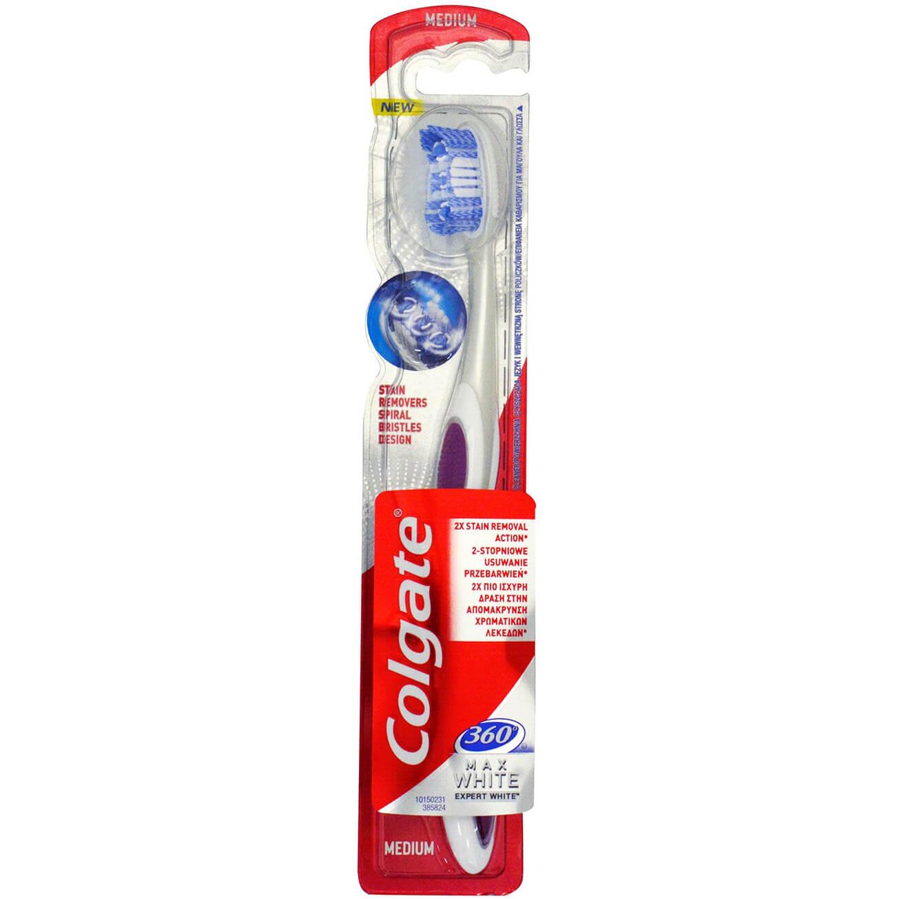Colgate 360 Max White Medium Οδοντόβουρτσα για Ολοκληρωμένο Καθαρισμό Στόματος & Λεύκανση με Μοναδικές Ίνες Γυαλίσματος 1Τεμάχιο – μωβ