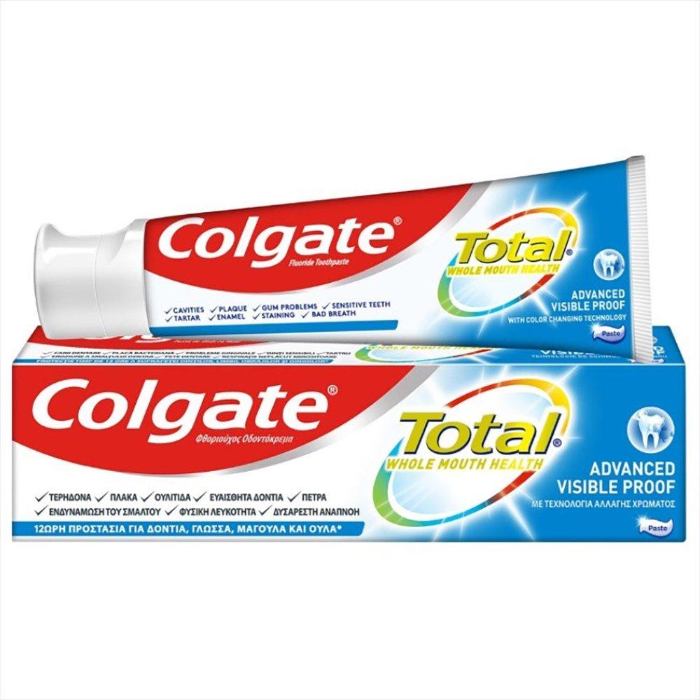 Colgate Total Whole Mouth Health Advanced Visible Proof Οδοντόκρεμα για Απόλυτα Υγιές Στόμα με Τεχνολογία Αλλαγής Χρώματος 75ml