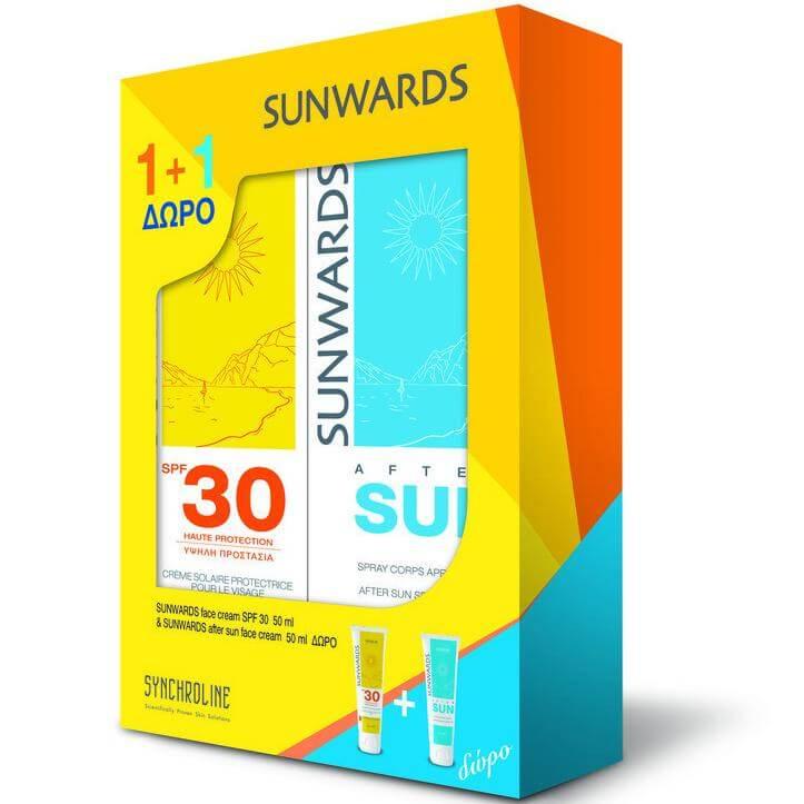 Sunwards Πακέτο Προσφοράς Face Cream Spf30 Αντηλιακή Κρέμα Προσώπου50ml & Δώρο After Sun Face Cream Γαλάκτωμα50ml
