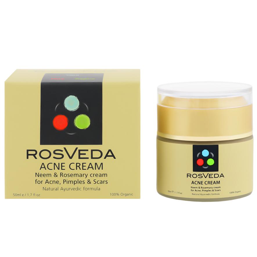 RosVeda Acne Cream 100% Φυτική Σύνθεση Κατά της Ακμής, Αποτοξίνωση & Καθαρισμός της Επιδερμίδας 50ml