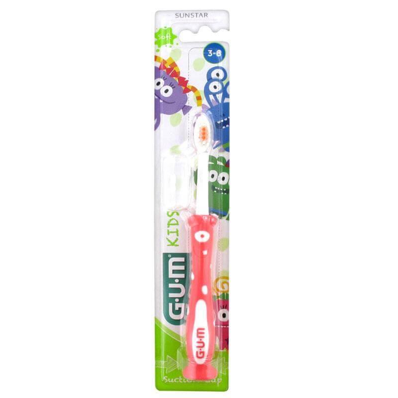 Gum Kids Soft Παιδική Οδοντόβουρτσα με Βεντούζα Στερέωσης3-6 Ετών (901) – κόκκινο