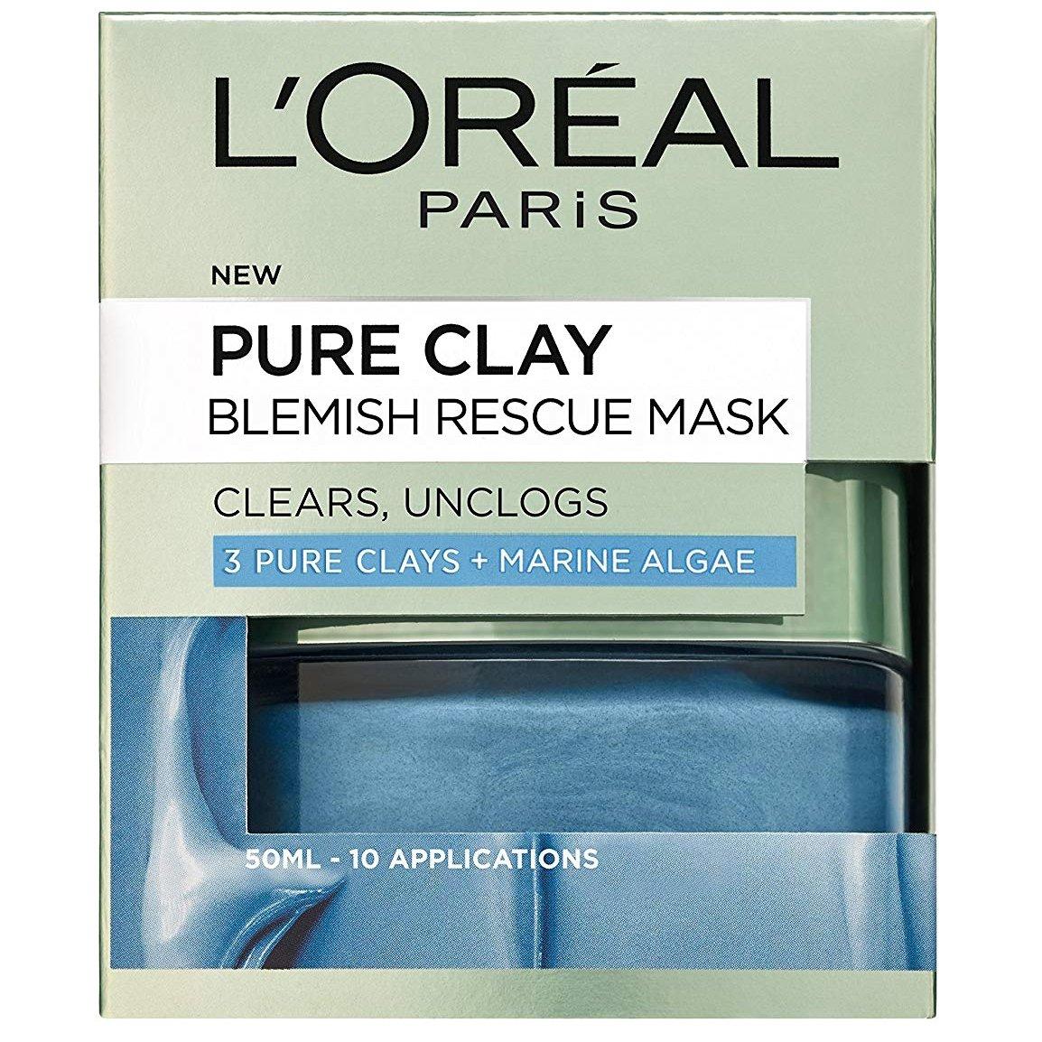 L'oreal Paris Pure Clay Blemish Rescue Mask Μάσκα Αργίλου για Εντατικό Καθαρισμό & Μείωση των Ατελειών 50ml