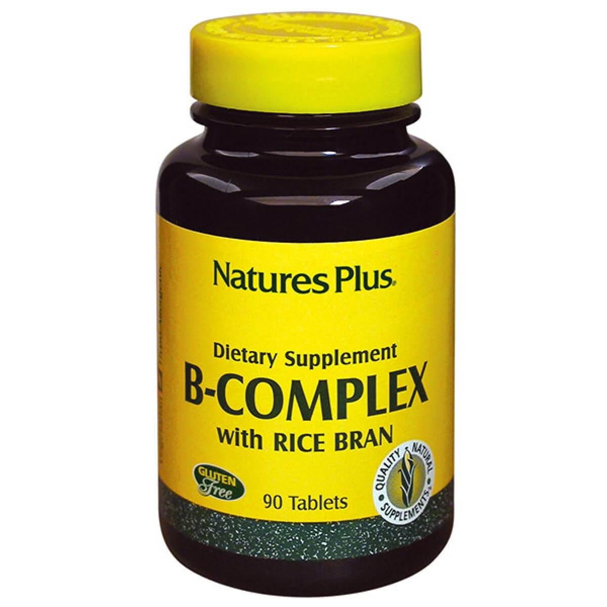 Nature's Plus Vitamin B-Complex with Rice Bran Ανακουφίζει Από το Αίσθημα Κόπωσης 90tabs