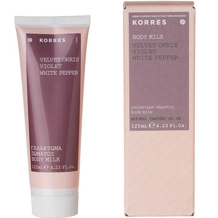 Korres Body Milk Velvet Orris Violet White Pepper, Γαλάκτωμα Σώματος 125ml