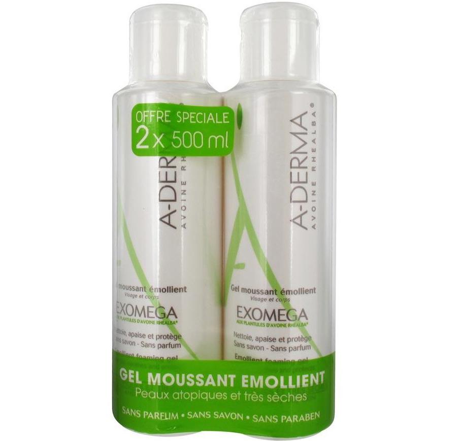 A-Derma Πακέτο Προσφοράς Exomega Moussant Emollient Foaming Gel Καθαρισμός για Ατοπικά & Πολύ Ξηρά Δέρματα 2x500ml