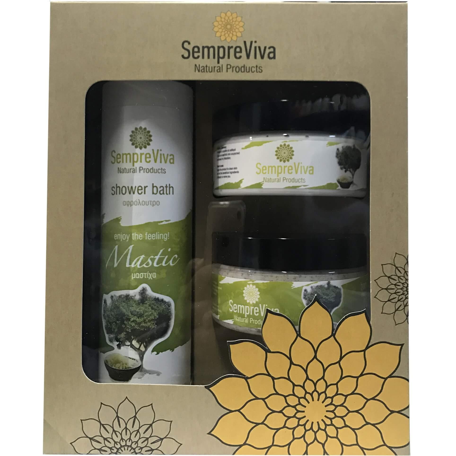 SempreViva Πακέτο Προσφοράς Περιποίησης ΣώματοςΜαστίχα Αφρόλουτρο 400ml & Body Butter 250ml & Body Scrub 250ml