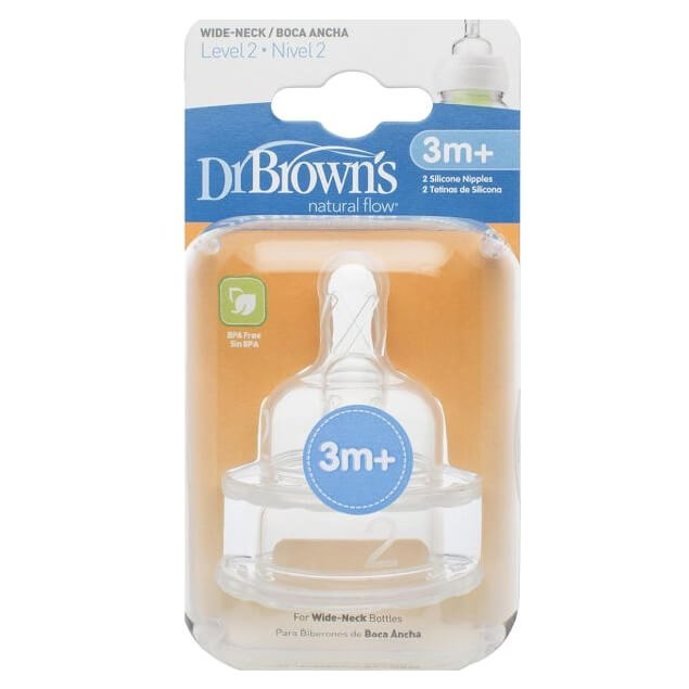 Dr. Browns Natural Flow 3m+ Θηλή Σιλικόνης με Φαρδύ Λαιμό Επίπεδο 2, 2 Τεμάχια (372)