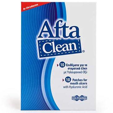 Uni-Pharma Afta Clean Επιθέματα για τα Στοματικά Έλκη με Υαλουρονικό Οξύ 10patches