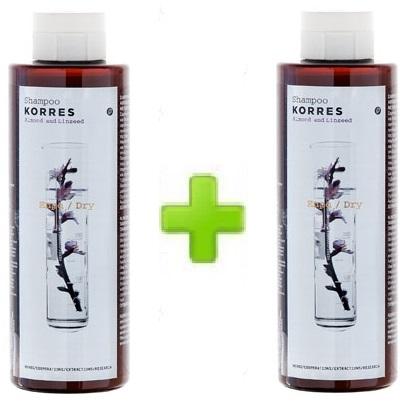 Korres Σαμπουάν με Αμύγδαλο &Λινάρι για Ξηρά & Αφυδατωμένα Μαλλιά 250ml 1+1 Δώρο