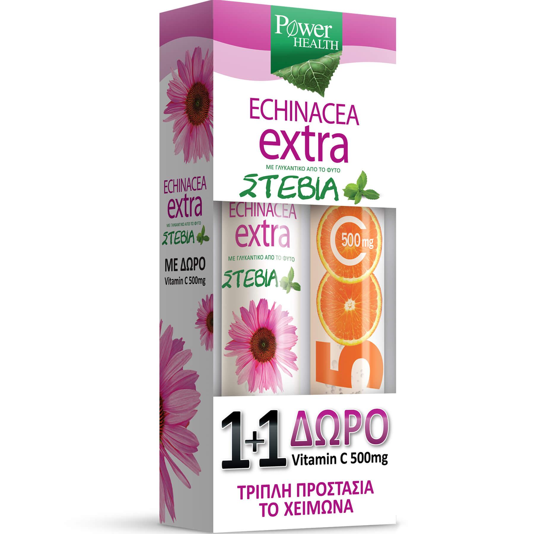 Power Health Echinacea Extra με Στέβια 24Effer.Tabs & Βιταμίνη C 500mg 20Effer.Tabs 1+1 Δώρο