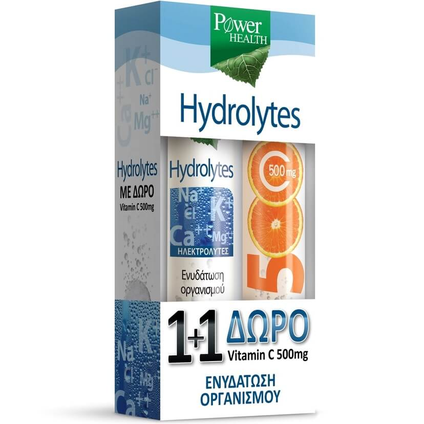 Power Health Hydrolytes Συμπλήρωμα Διατροφής 20 Αναβρ.Δισκία & Vitamin C 500mg Συμπλήρωμα Διατροφής 20 Αναβρ.Δισκία