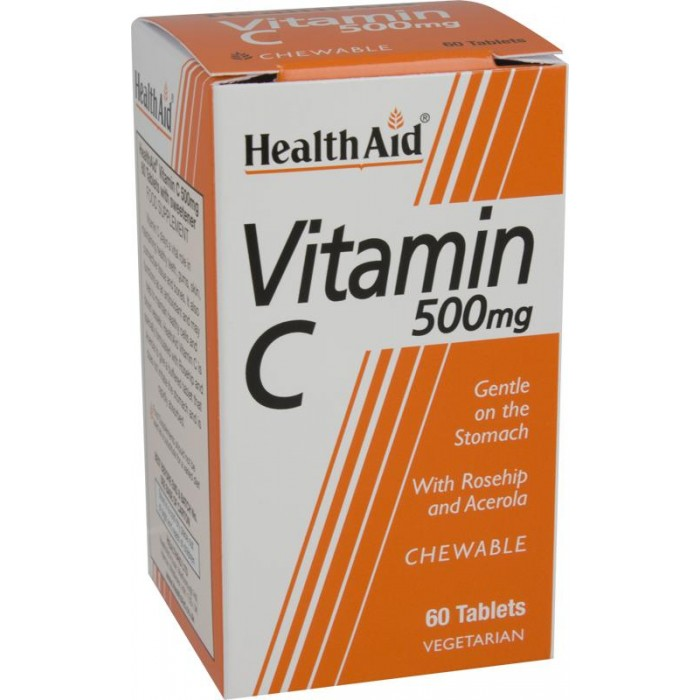 Health Aid Vitamin C Chewable 500mg with Rosehip & Acerola 60tabs