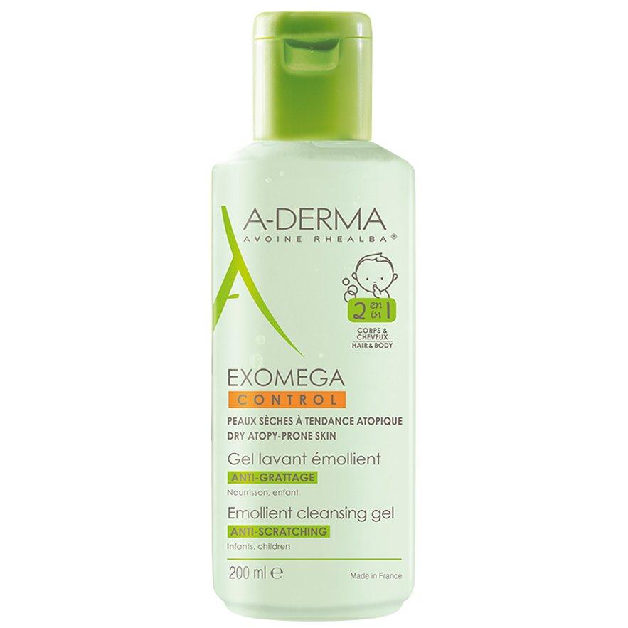 A-Derma Exomega Control Gel Lavant Emollient 2 en 1 Μαλακτική Κρέμα για Ατοπικό, Πολύ Ξηρό Δέρμα για Σώμα & Μαλλιά 200ml
