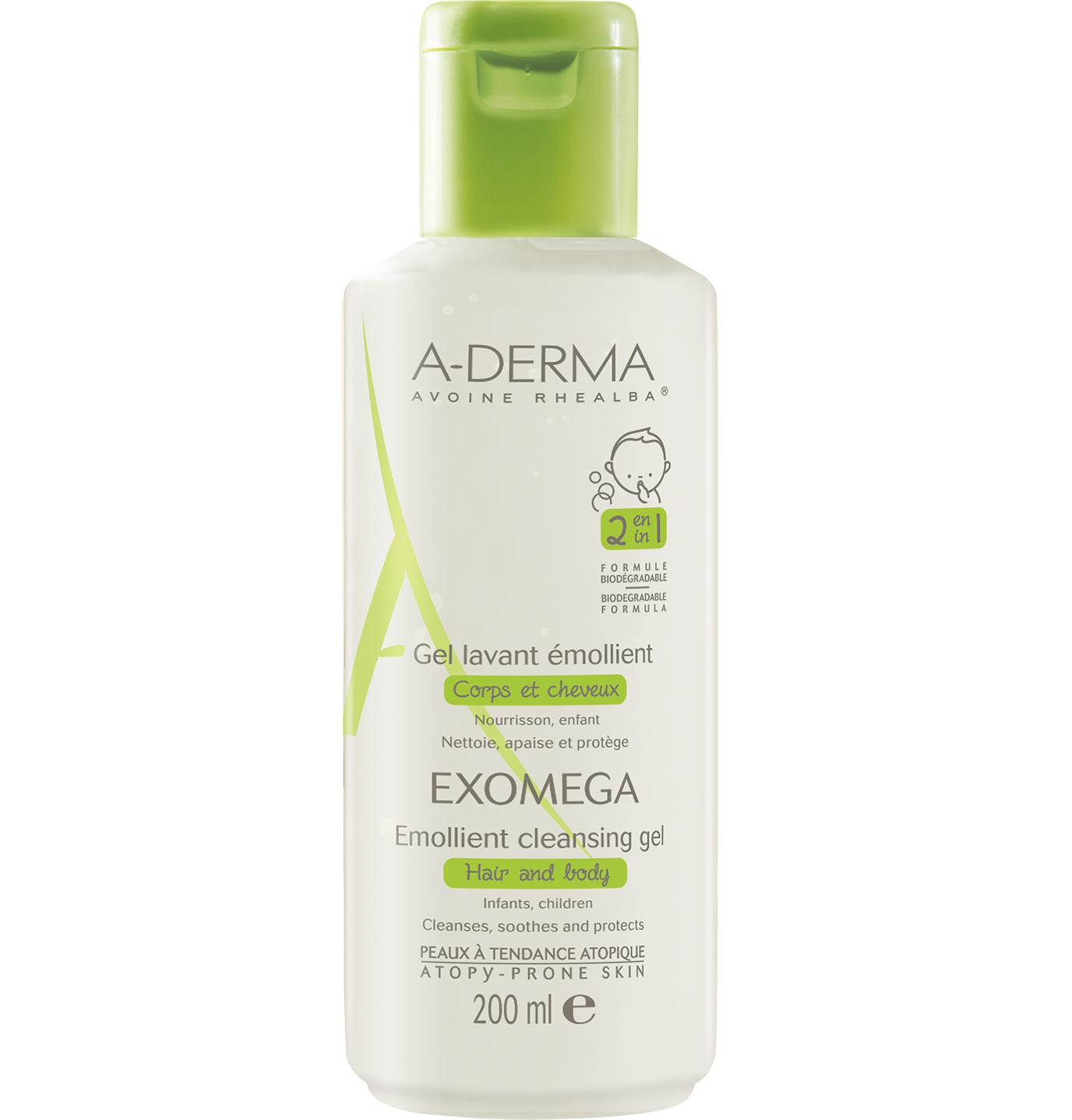 A-Derma Exomega Gel Lavant Emollient 2 in 1 Μαλακτικό GelΚαθαρισμού & Ενυδάτωσης για το Ατοπικό Δέρμα, Μαλλιά & Σώμα 200ml