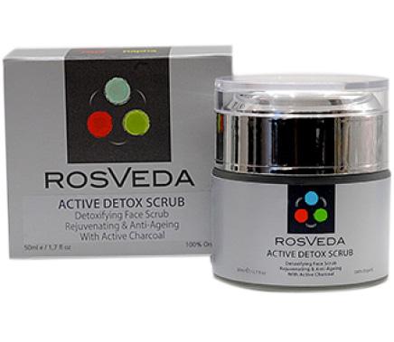 RosVeda Active Detox Scrub Απολεπιστικό Προσώπου με Ενεργό Άνθρακαγια Αποτοξίνωση, Αντιγήρανση & Λάμψη 50ml