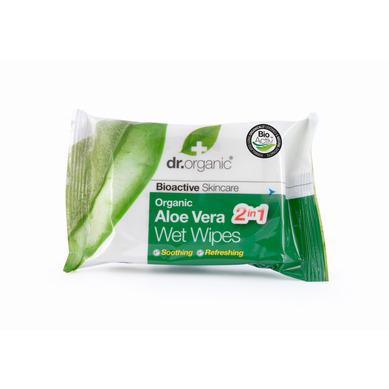 Dr Organic Organic Aloe Vera Wet Wipes Υγρά Μαντηλάκια Καθαρισμού Για Το Πρόσωπο Και Τα Χέρια 20s
