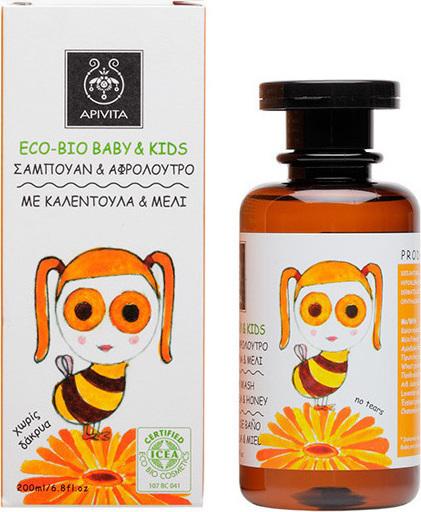 Apivita Eco Bio Baby Kids Σαμπουάν & Αφρόλουτρο Με Καλέντουλα & Μέλι 200ml