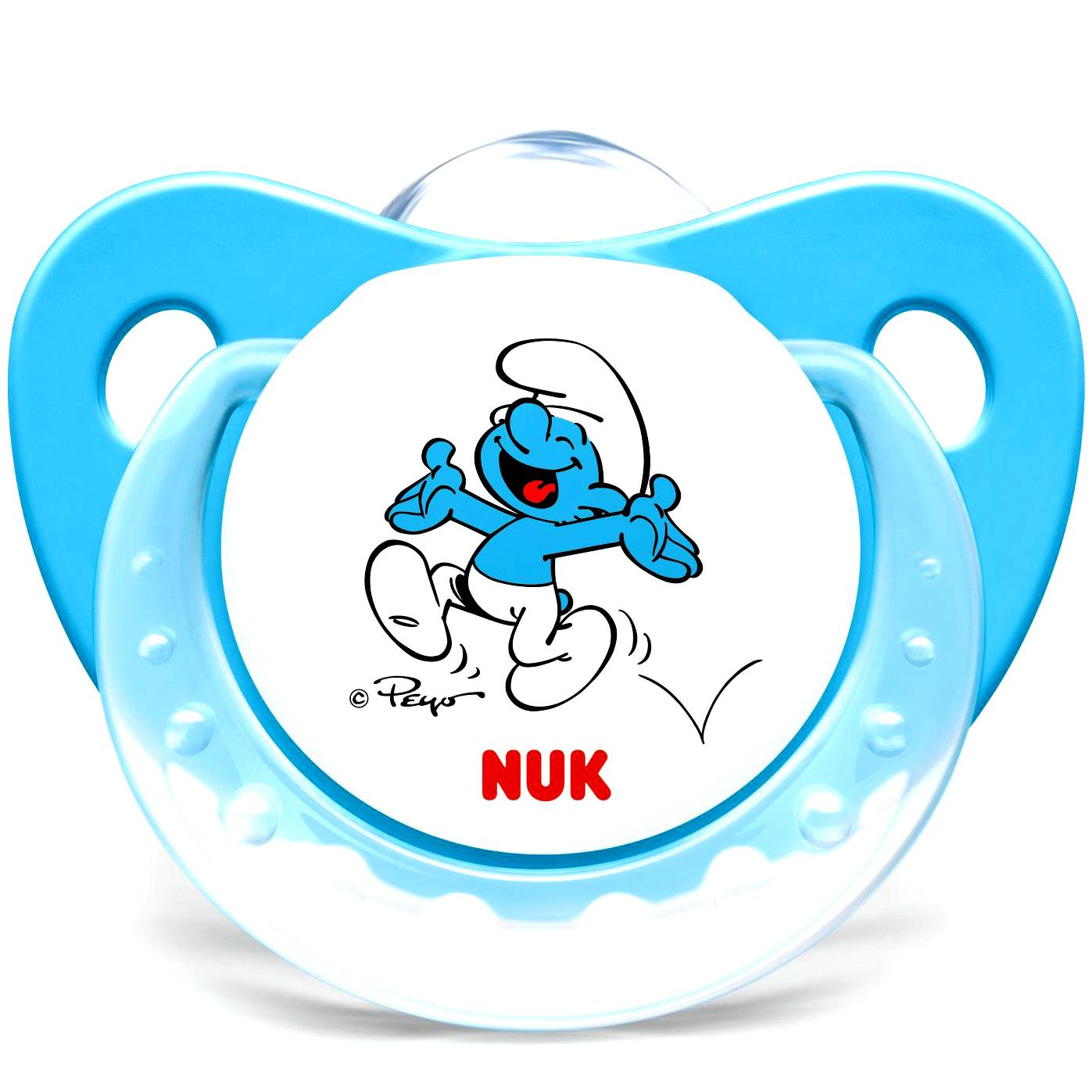Nuk Trendline The SmurfsΠιπίλα Σιλικόνης με Κρίκο Χωρίς BPA σε Μπλε Χρώμα – Μέγεθος 2 (6-18 μηνών)