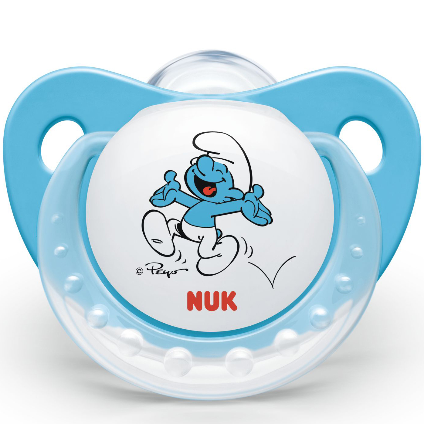 Nuk Trendline The SmurfsΠιπίλα Σιλικόνης με Κρίκο Χωρίς BPA Μπλε Χρώμα – Μέγεθος 2 (6-18 μηνών)