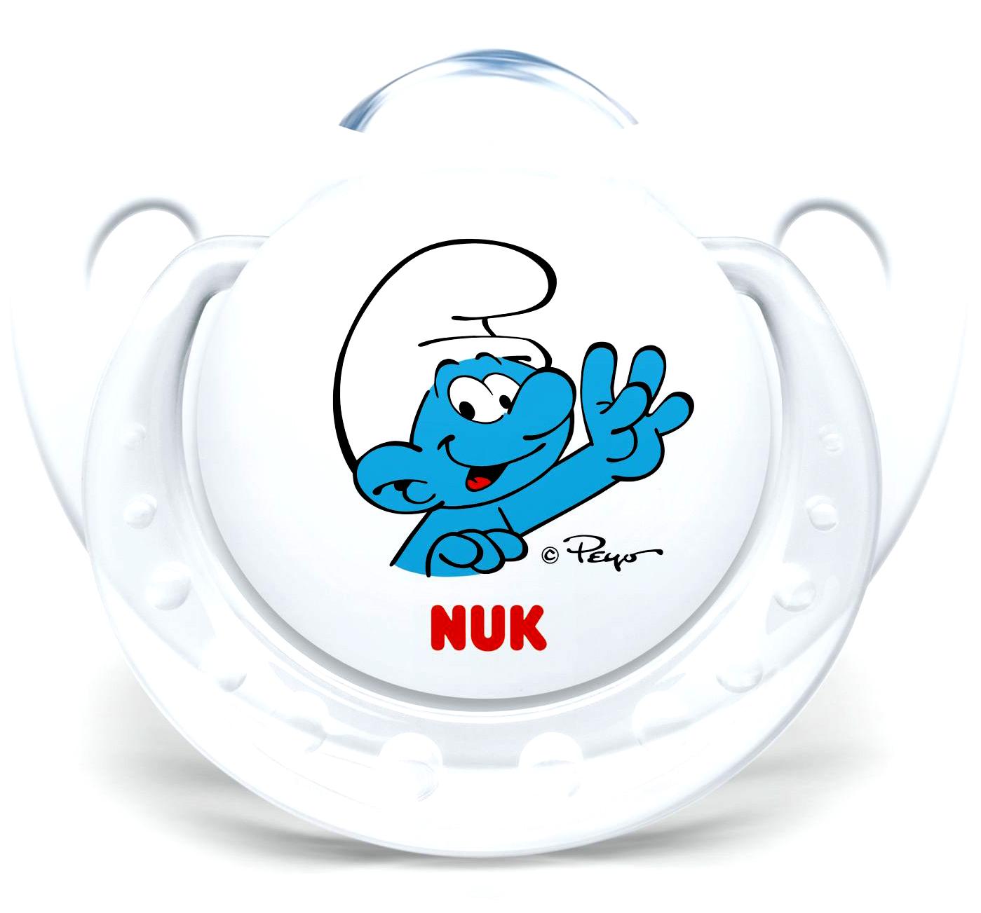 Nuk Trendline The SmurfsΠιπίλα Σιλικόνης με Κρίκο Χωρίς BPA σε Λευκό Χρώμα – Μέγεθος 1 (0-6 μηνών)