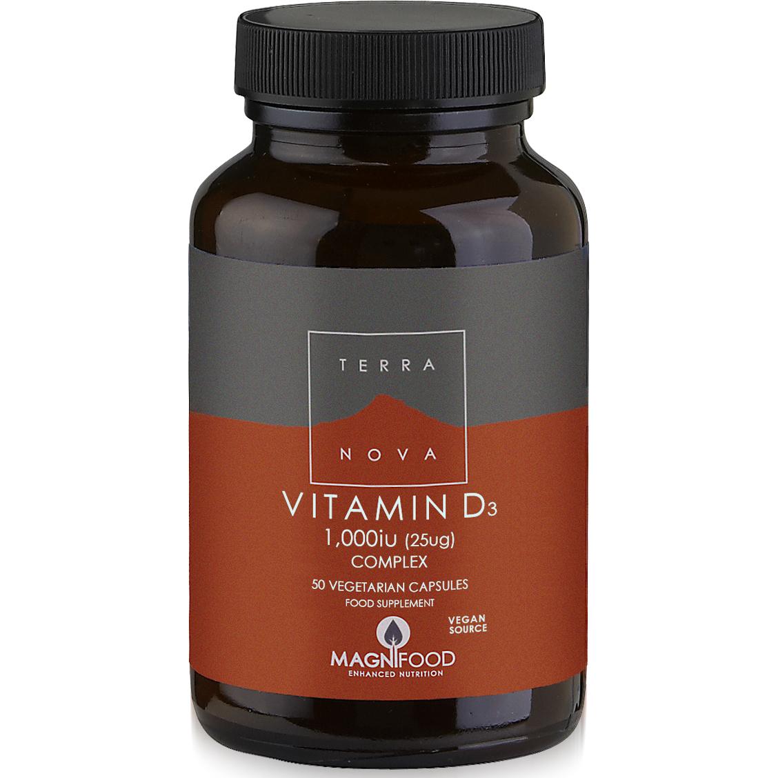 Terranova Vitamin D3 1000iu Complex Φυτικής Προέλευσης Βιταμίνη D3 50veg.caps