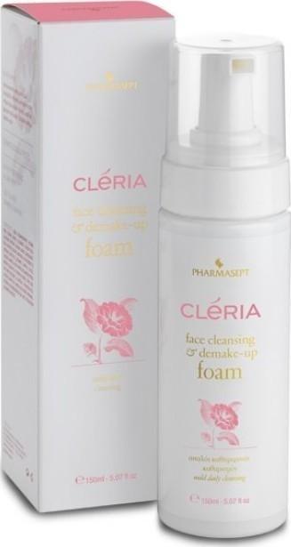 Pharmasept Cleria Face Cleansing & Demake-up Foam Απαλός Αφρός Καθαρισμού Προσώπου & Ντεμακιγιάζ,Χωρίς Σαπούνι & SLES/SLS 150ml
