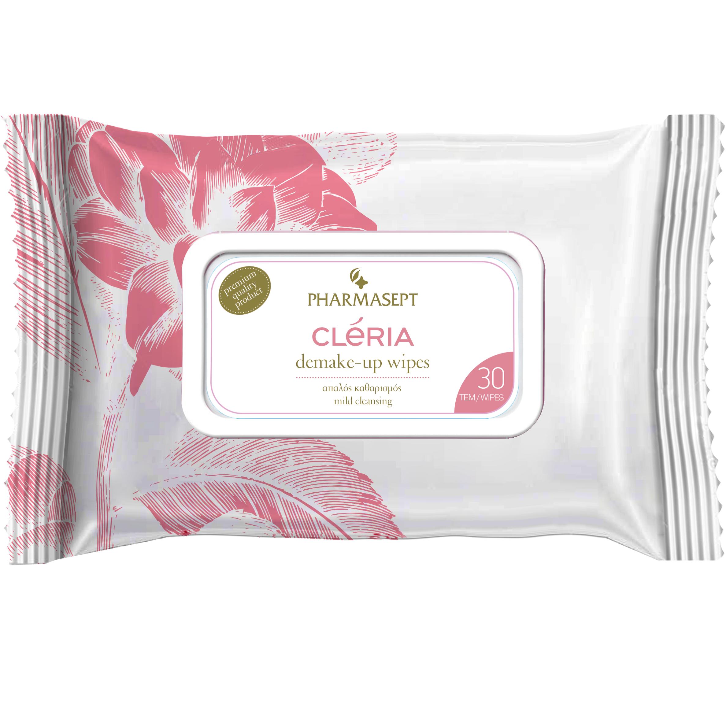Pharmasept Cleria Demake – Up Wipes Πρακτικά Υγρά Μαντηλάκια Ντεμακιγιάζ Προσώπου & Ματιών 30τεμάχια