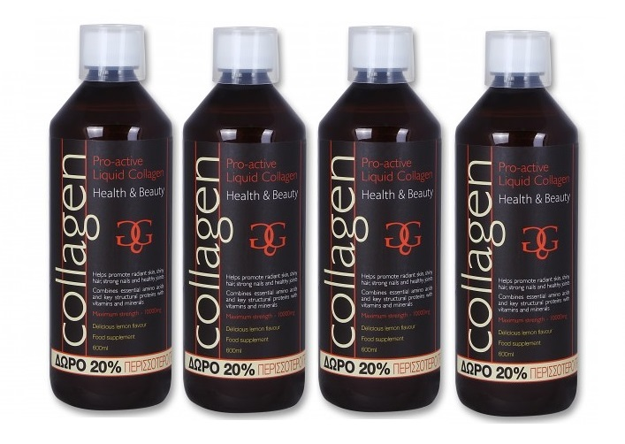 4 x Collagen ProActive Πόσιμο Κολλαγόνο 4x500ml + Δώρο 20% Επιπλέον Ποσότητα - Λ υγιεινή   χέρια   χέρια  περιποίηση θεραπεία νυχιών