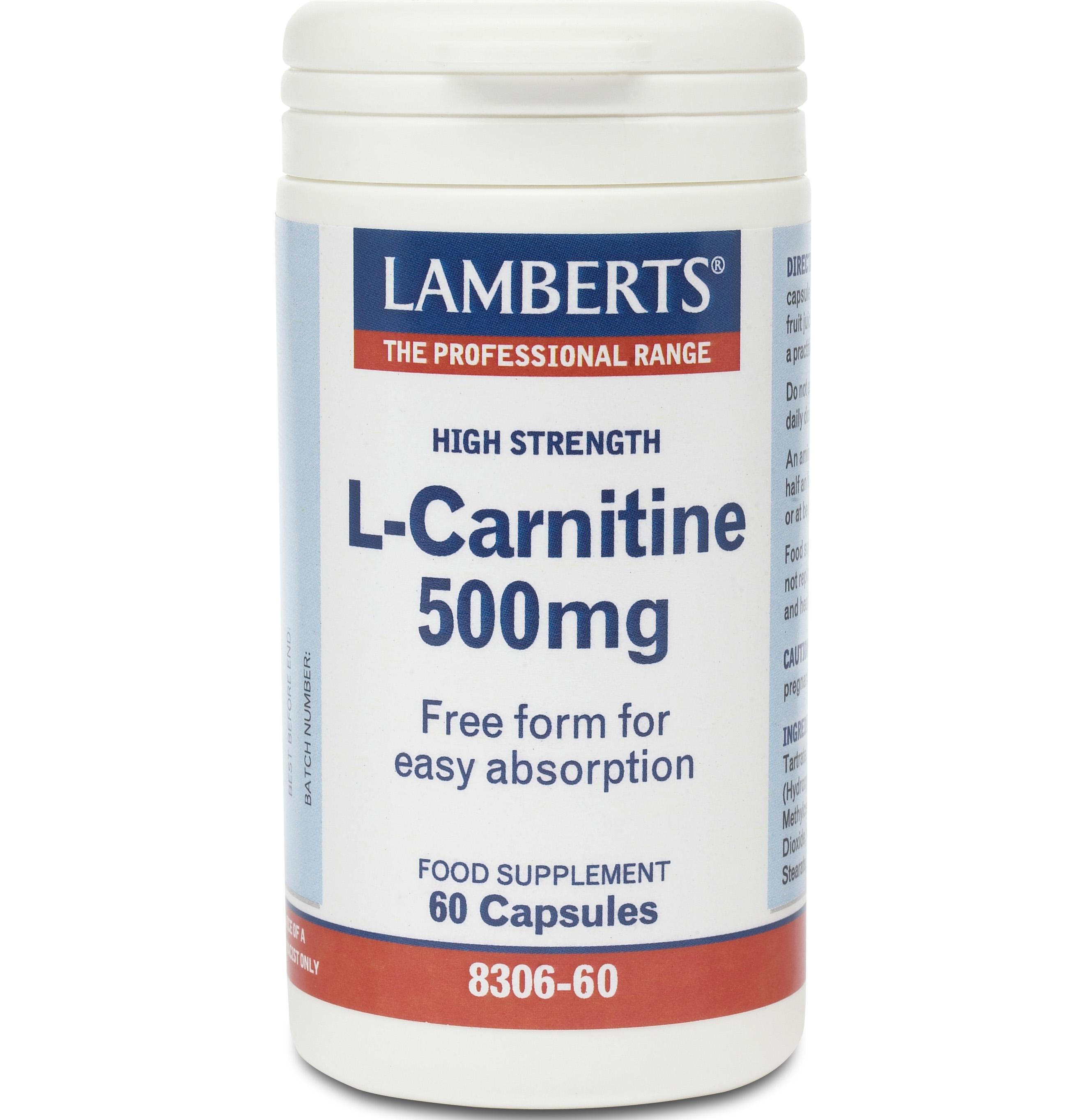 Lamberts L -Carnitine 500mg Καρνιτίνη Bοηθάει Στη Διαδικασία Της Θερμογένεσης 60 caps