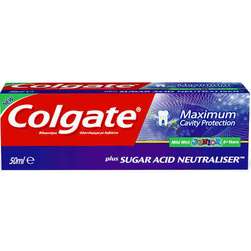 Colgate Maximum Cavity Protection Junior Παρέχει Στα Δόντια Τη Μέγιστη Προστασία Από Την Τερηδόνα 50ml