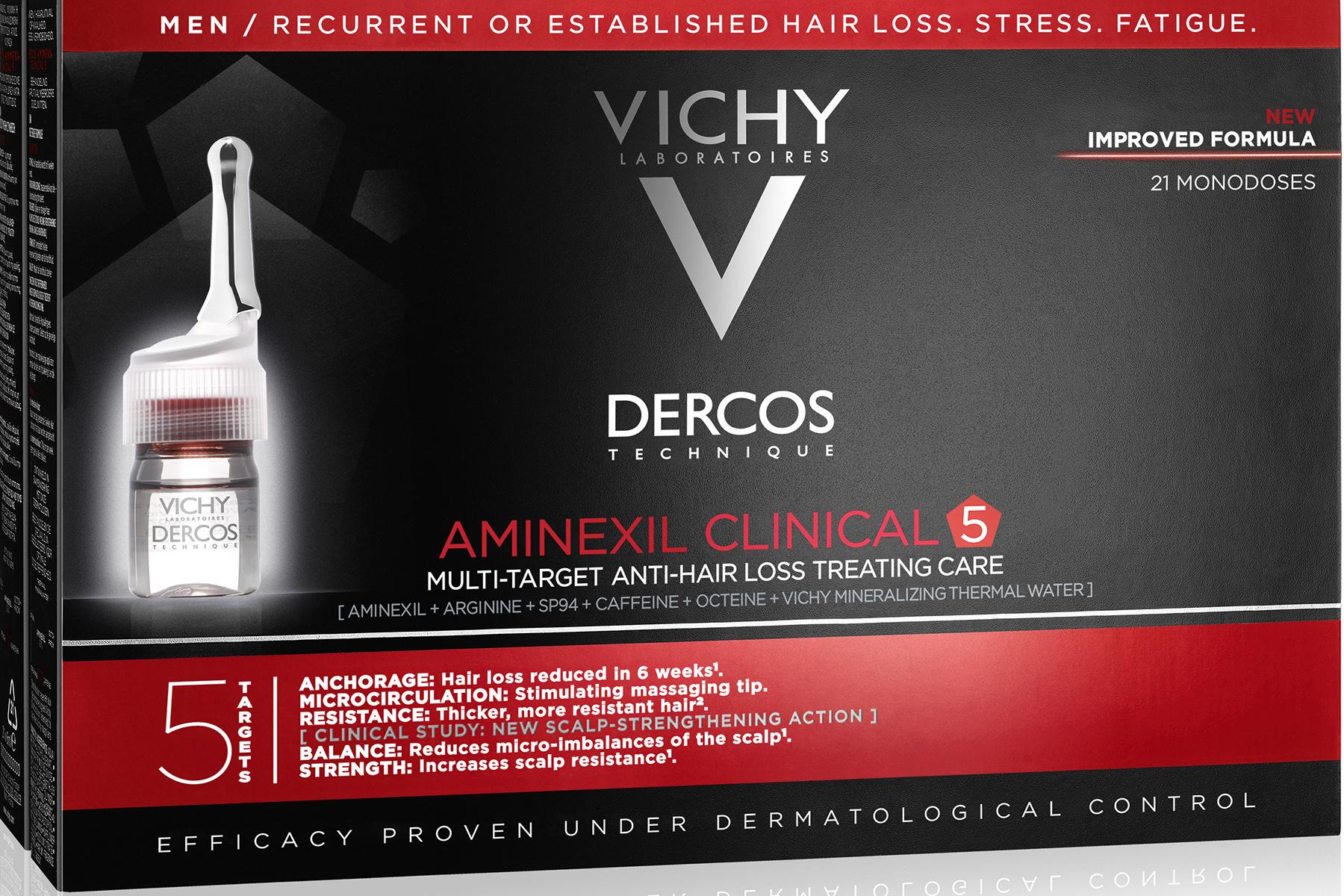 Vichy Dercos Aminexil Clinical 5 Homme για την Ανδρική Τριχόπτωση 21ampx6ml