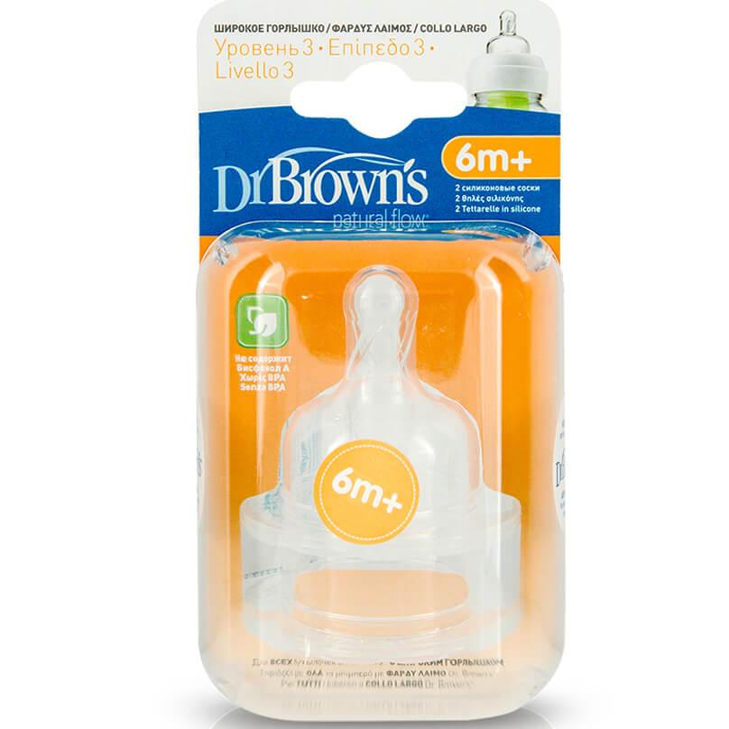 Dr. Browns Natural FlowΘηλή Σιλικόνης με Φαρδύ Λαιμό Επίπεδο 3, 2Τεμάχια(382)