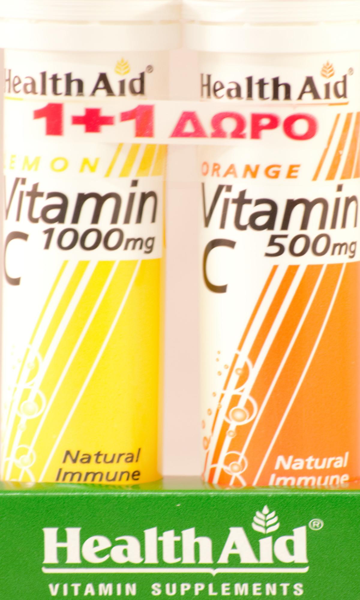 Health Aid Vitamin C 1000mg Γεύση Λεμόνι 20αναβράζ.ταμπλέτες + Δώρο Vitamin C Orange 500mg 20αναβρ.δισκία