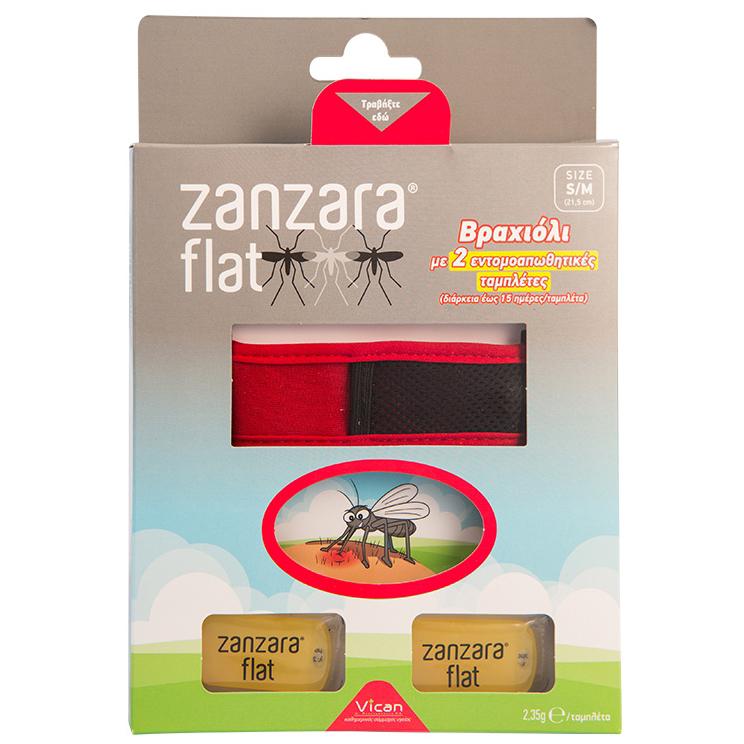 Vican Zanzara Flat – Εντομοαπωθητικό Βραχιόλι με 2 Εντομοαπωθητικές Ταμπλέτες, σε Διάφορα Χρώματα Μέγεθος S/M 1τμχ