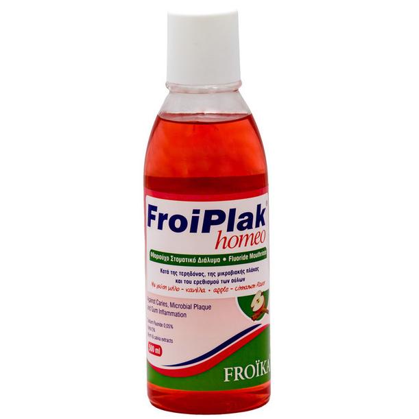 Froika Froiplak Homeo Mouthwash Φθοριούχο Στοματικό Διάλυμα Κατάλληλο για Ομοιοπαθητική με Γεύση Μήλο – Κανέλα 250ml