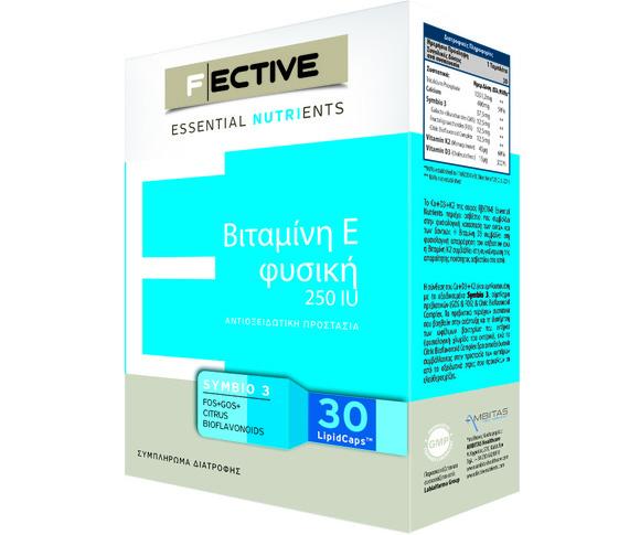 Fective Vitamin E Βιταμίνη Ε Φυσική Για Την Αντιοξειδωτική Προστασία Και Για Το Υγιές Δέρμα 250IU 30caps