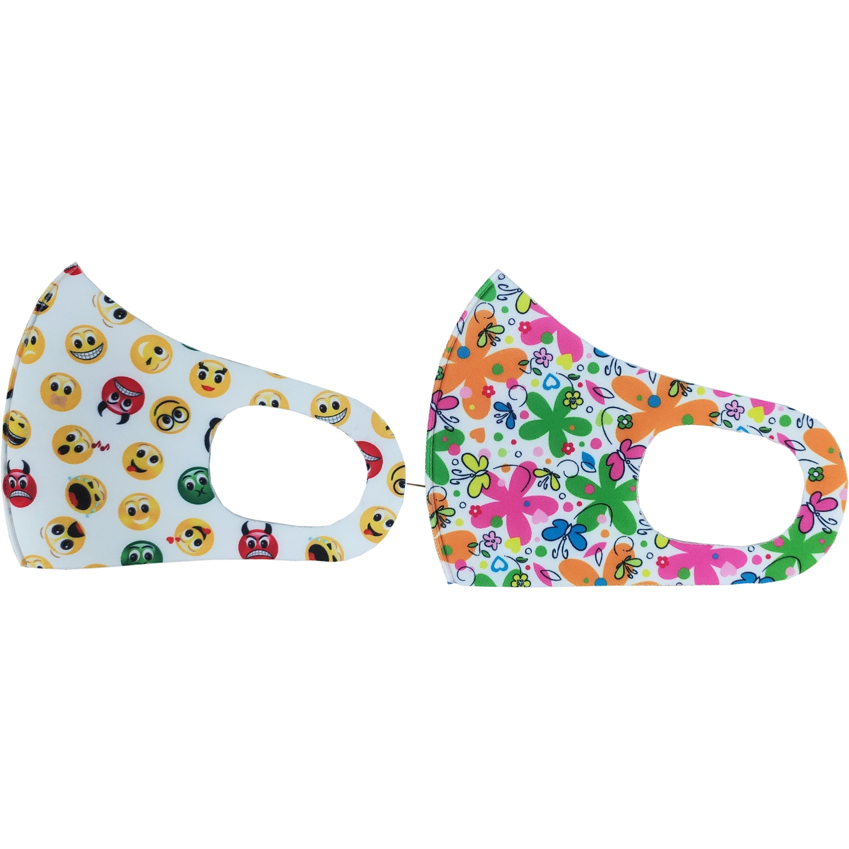 Tili Fashion Face Mask Παιδικές Μάσκες Προσώπου Πολλαπλών Χρήσεων με Σχέδια Λουλούδια – Emoji για Κορίτσι 2 Τεμάχια