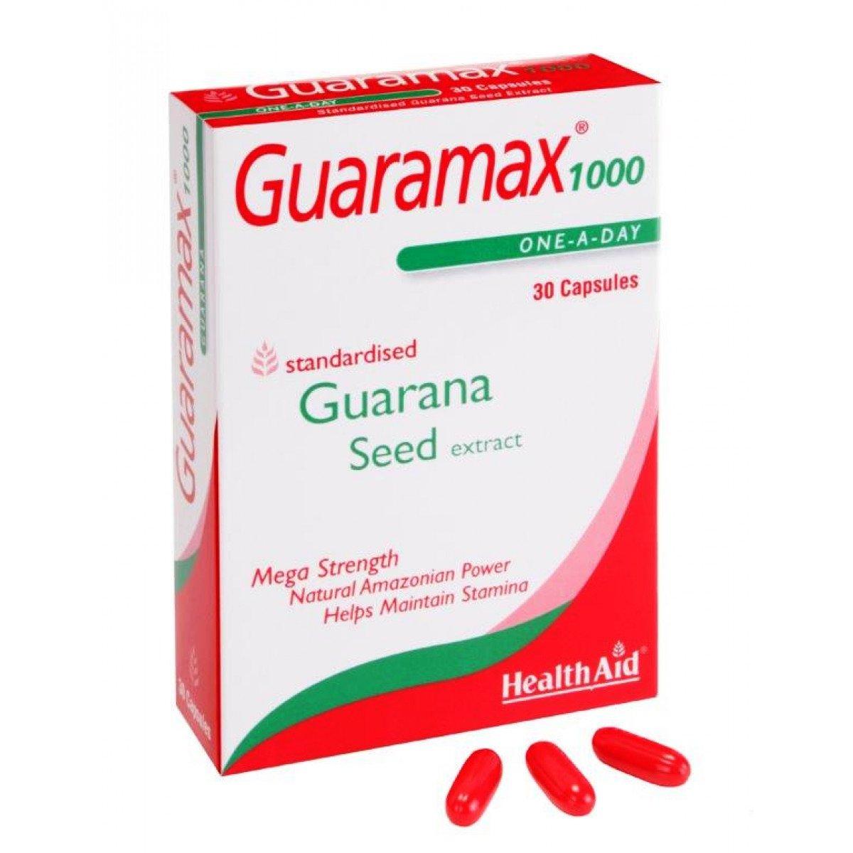 Health Aid Guaramax 1000 Φυσικές Τονωτικές και Αναζωογονητικές του Ιδιότητες 30caps